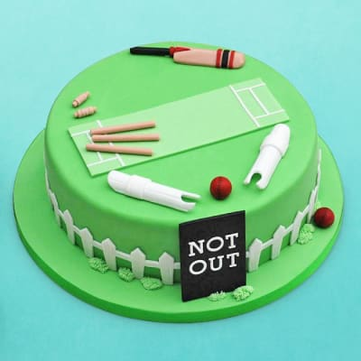Not Out Cricket Field Birthday Fondant Cake (2 Kg)