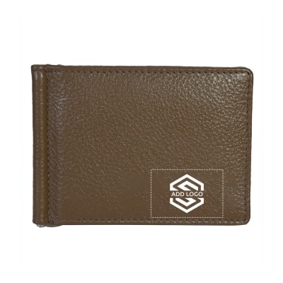 Olive Vintage Grained Leather Men's Wallet - Customizable with Logo