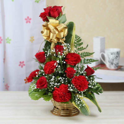 One Sided Basket Of 10 Red Roses 5 Carnations