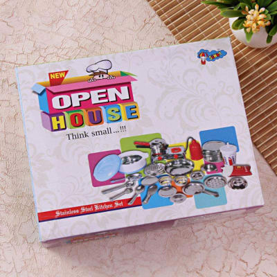 Open House Stainless Steel Kitchen Set Gift Send Toys And Games