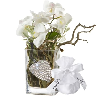 Orchid Design, incl. key ring with 112 Swarovski® crystals