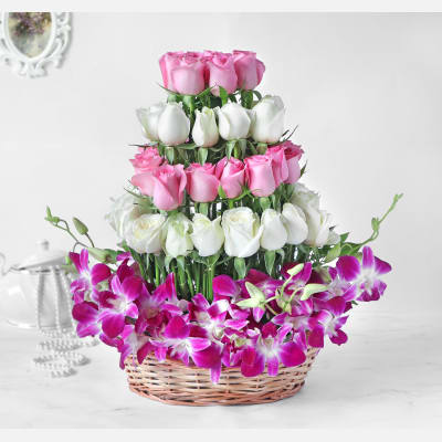 Orchids and Roses in Basket