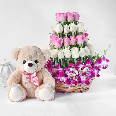 Orchids and Roses in Basket with Teddy Bear