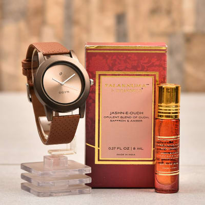 Oudh Saffron Amber Roll On Itra For Men With Odyn Watch