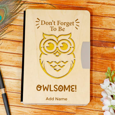 Owlsome Carved Personalized Wooden Cover Diary