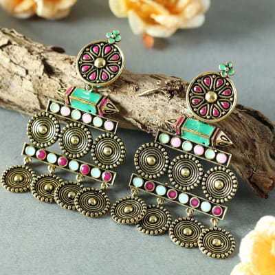 Oxidized Handmade Rajasthani Meenawork Earrings
