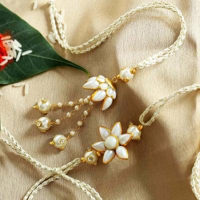 Pachhi With Pearl Designed Bhaiya Bhabhi Rakhi