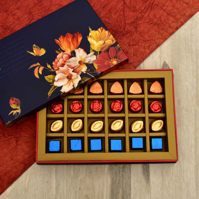 Pack of Assorted Dark Chocolates in Floral Box