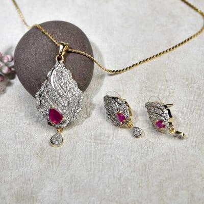 Party Wear Pendant Set in CZ Stones