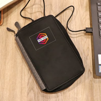 Passport Holder With 5000mAh Power Bank - Customized with Logo