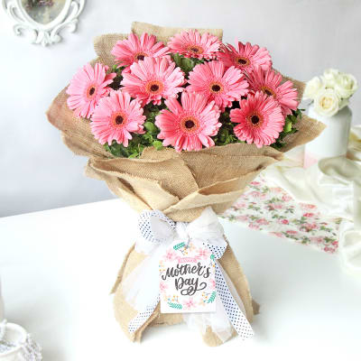 Peachy Pink Gerberas for Mother's Day
