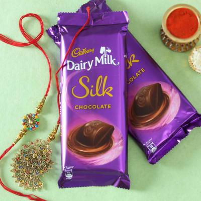 Peacock Bhaiya Bhabhi Rakhi with Cadbury Chocolate (2 Pcs)