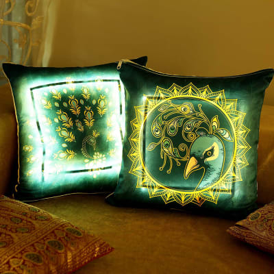 Peacock Design Satin LED Cushion (Set of 2)