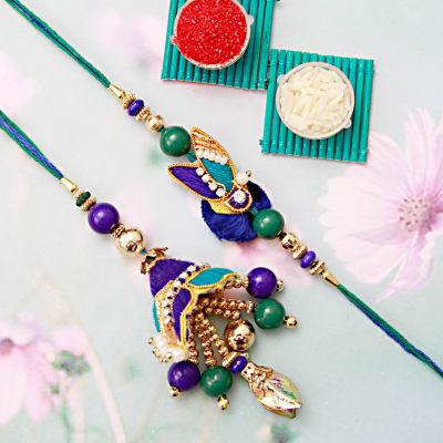 Peacock Feather Beaded Bhaiya Bhabhi Set