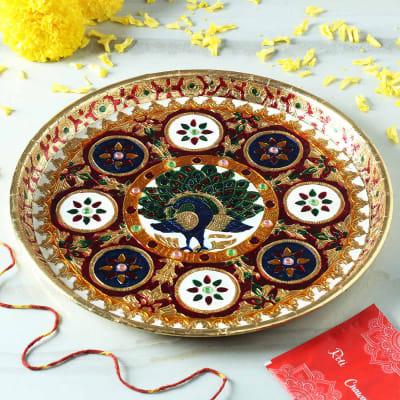 Peacock Meenakari Decorative Metal Puja Thali
