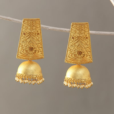 Pearl Beaded Golden Carved Jhumka