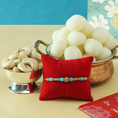 Pearl Rakhi with Dry Fruits & Rasgulla