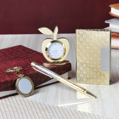 Pen Card Holder With Keychain Table Clock In A Gift Set