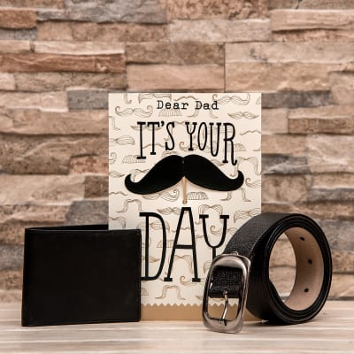 Perfect Combo Of Wallet With Belt And Greeting Card For Dad