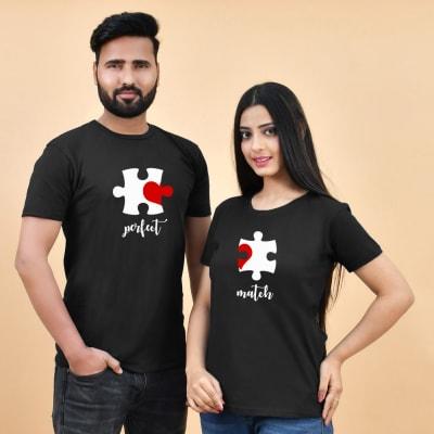 Perfect Match Jigsaw Print Black Couple T-Shirt