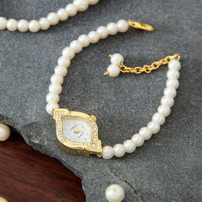 Perfect Party Wear Watch in Golden and Ivory White