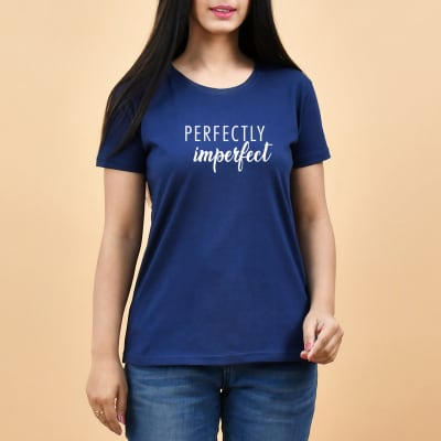 Perfectly Imperfect Navy Blue T-Shirt for Women