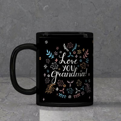Personalised Black Mug For Grandmother