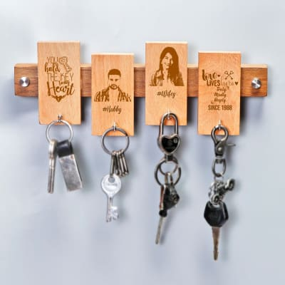 Personalised Couple Themed Wooden Keyholder