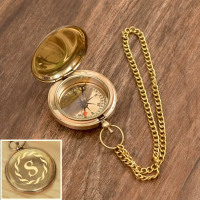 Personalised Nautical Push Button Brass Pocket Compass With Chain