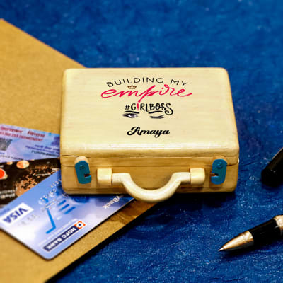 Personalised Suitcase Shaped Wooden Pen and Card Holder for Girl Boss