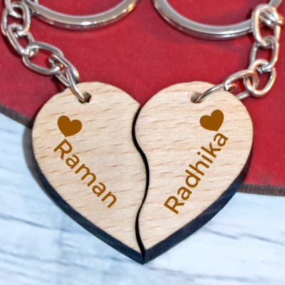 Personalised Wooden Heart Keychains - set of 2
