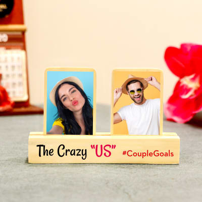 Personalised Wooden Photo Stand for Couples