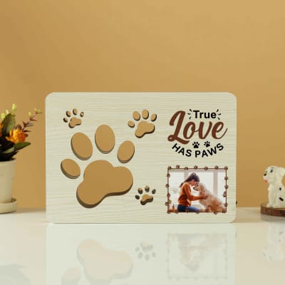 Personalized 3D Paws Cut Out Wooden LED Lamp
