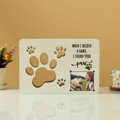 Personalized 3D Paws Cut Out Wooden Table Lamp