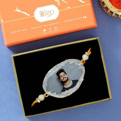 Personalized Agate and Bead Rakhi in Gift Box