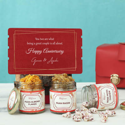 Personalized Anniversary Hamper With Flavoured Dry Fruits in PVC Bag