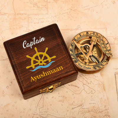 Personalized Antique Brass Lid Sundial Compass in Sheesham Wood Box