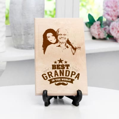 Personalized Best Grandpa Wooden Photo Frame