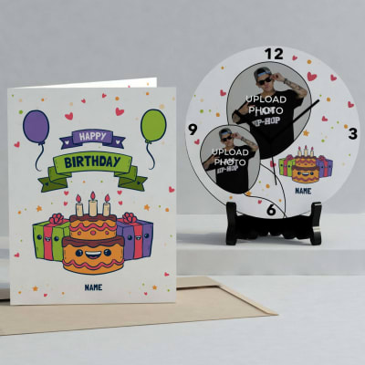 Personalized Birthday Clock & Card combo for Teens