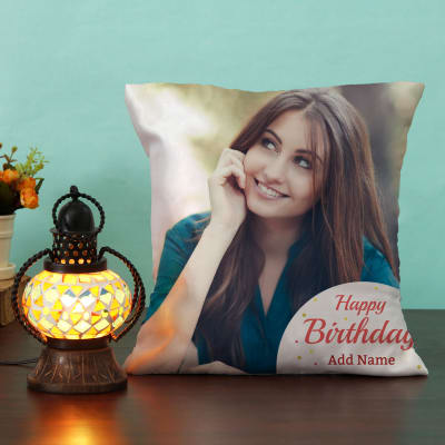 Personalized Birthday Cushion With Decorative Lamp
