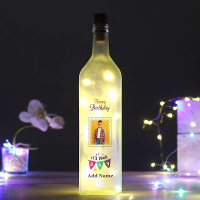 Personalized Birthday Frosted LED Bottle Lamp for Boys