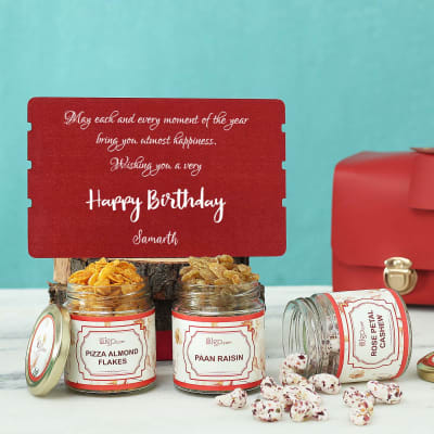 Personalized Birthday Hamper With Flavoured Dry Fruits in PVC Bag