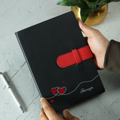 Personalized Black Diary with Strap Closure