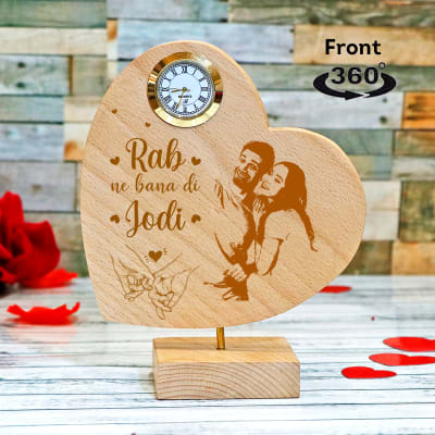 Personalized Bollywood Themed Heart Shaped Showpiece with Clock