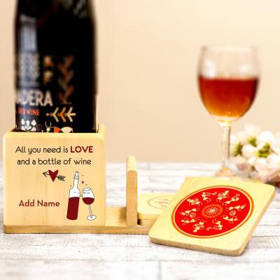 Personalized Bottle Holder with Set of 4 Warli Coasters