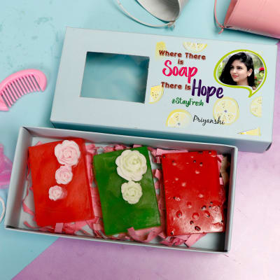 Personalized Box of Fruit Soaps - Set of 3