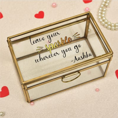 Personalized Brass Glass Jewelry Box
