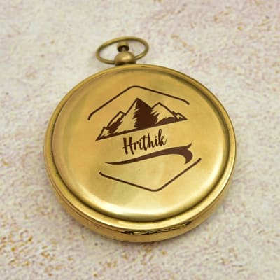 Personalized Brass Push Button Sundial Compass