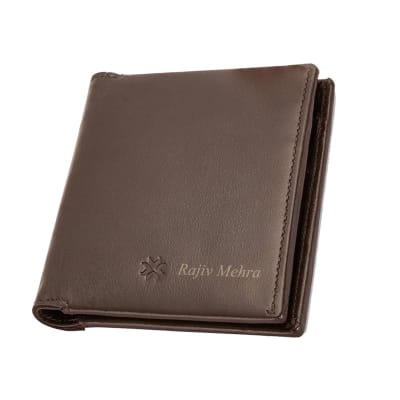 Personalized Brown Bi-fold Card Wallet