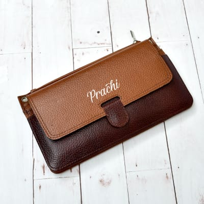 Personalized Brown Pure Leather Clutch